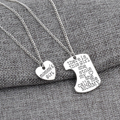 2 Part Silver Pendant Necklace Mummy's Girl She Stole My Heart There Is Daddy DP