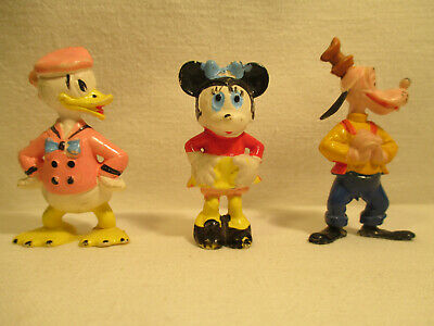 Drei Disney Figuren 60er Jahre : Minnie Maus Goofy Donald Duck
