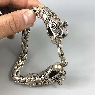 Exquisite Chinese Rare Collectible Tibet Silver Handwork Dragon Amulet Bracelet