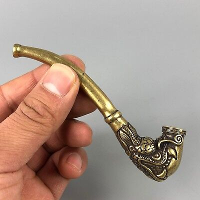 Chinese Collectible Old Brass Handwork Lifelike Dragon Sm0king Pipe Statue YR