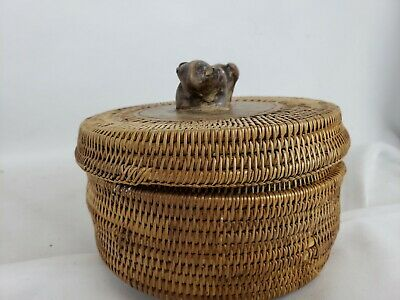 Indonesian Hand Woven Basket with Lizard Finial, ca. 1970s
