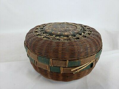 """Great vintage chinese woven basket, ca. 1970s, 6"""""""