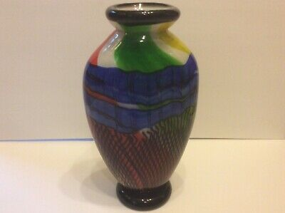 Vintage Large Murano Glass Vase Hand Blown Multi Colors Thick & Heavy Italy