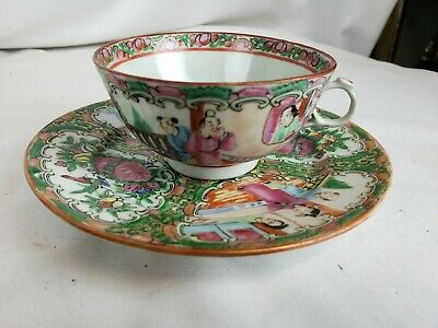 antique chinese famille rose tea cup and saucer