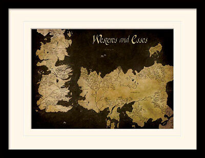 Game Of Thrones Westeros And Essos Antique Map Framed & Mounted Print