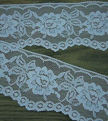 1 Metre SCALLOPED EDGE EMBROIDERED MESH LACE Trim - Baby Powder Blue L112