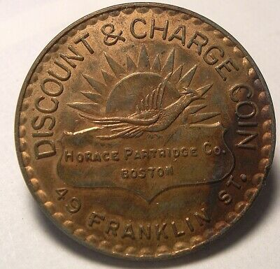 "Early ""HORACE PARTRIDGE CO"" Sporting Goods Store Charge Coin Tag; BOSTON MA"