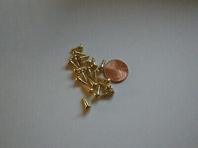 """#4 3/8""""   SLOTTED BRASS WOOD SCREWS w/ ROUND HEAD FOR ANTIQUE CLOCK REPAIR"""