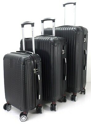 Set / 3 Lightweight Hard Shell 8 wheel Spinner Luggage Suitcases Trolley Case BK