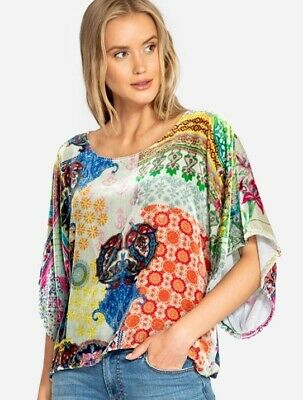 680e2c7b4 Nwt Johnny Was Velvet Blouse Top Floral Print Crop Dolman Sleeves Sz S Small