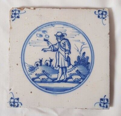 Stunning Delft  Figurative Shepard Sheep Tile Probably 18Th C, Approx 12.5 Cm