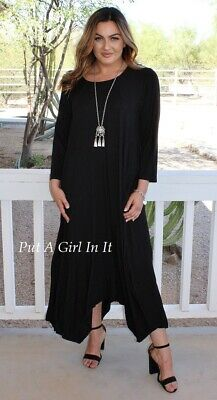 0175f29a76d Plus Size Romantic Black 3 4 Sleeve Sharkbite Maxi Dress Pockets 1X 2X 3X  Usa