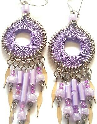 "Dream Catcher Earrings-Alpaca Silver-Beautiful 1/2""Dia! Purples! 1-1 1/2"" long"