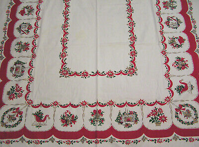 Vtg Christmas Tablecloth Fireplace Poinsettias Bells Noel Wreaths Gifts LARGE