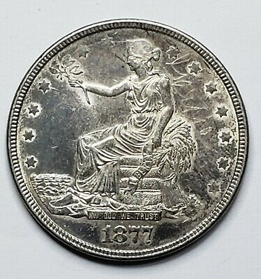 1877 Trade Dollar $1 Silver Coin Lot 519-7