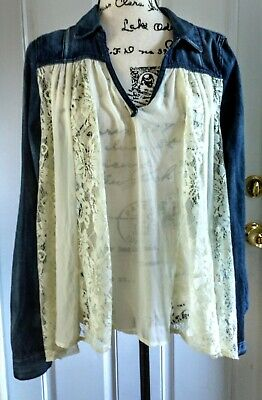 Free People Lace Chiffon & Denim Top Blouse Open Back Women Size Medium NWT