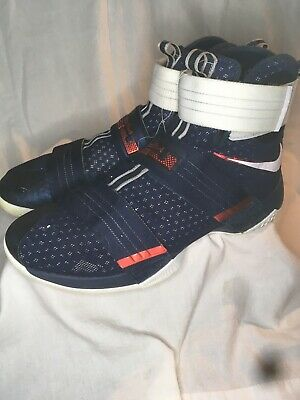ddfc545ace8 Nike Lebron Soldier 10 Mens Size 13.5 Basketball Shoe 844378-416 Navy Blue  Red