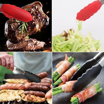 Silicone Kitchen Cooking Salad Serving Tongs Stainless Steel Handle Utensils DP