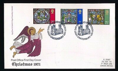 CHRISTMAS - CANTERBURY...1971 FDC First Day Cover...Fast Post