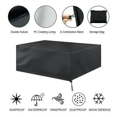 Extra Large Outdoor Garden Rattan Furniture Cover Patio Table Protection Black