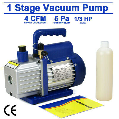 Low Noise 4CFM Vacuum Pump Single Stage HVAC 1/3HP Air Conditioning A/C Free Oil