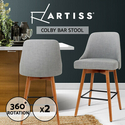 Artiss 2x Wooden Bar Stools Swivel Bar Stool Kitchen Dining Chairs Cafe Grey