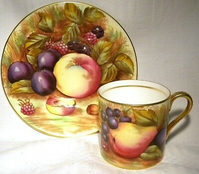 Vintage Aynsley Coffee Can/ Demi Tasse  Cup & Saucer Orchard Gold