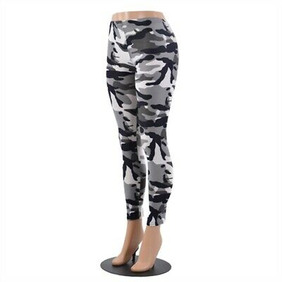 f212a0ab8345a Women's Camouflage Camo Full Length Stretch Pants Leggings Military Army  Gray