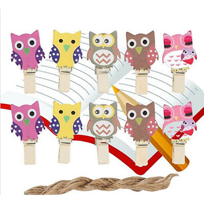 Wooden Picture Pegs Clips Pine Owl Shaped Wood Peg Gardens Picture Decor DP