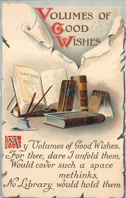 Volumes Of Good Wishes Library Books Pen & Paper New York Postcard 1910