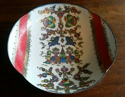 Vintage Enamel Folk Art Trinket Bowl Scallop Edge A-15 Handmade in Austria