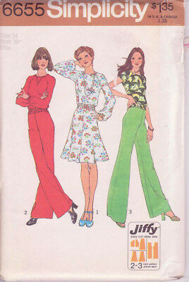 6655 SIMPLICITY Jiffy c.1974 - TOP SKIRT PANTS - Sz 14 B 36""