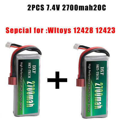 2PCS 7.4V 2700mah 20C Lipo battery For Wltoys 12428 12423 feiyue 03 JJRC Q39