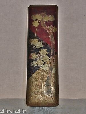 ASTOUNDINGLY Gorgeous LACQUER WOOD Golden Tree BOX Old JAPANESE HP ART with WEAR