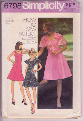 6798 SIMPLICITY c.1974 - Princess DRESS & Tie TOP - Sz 12 B 34""