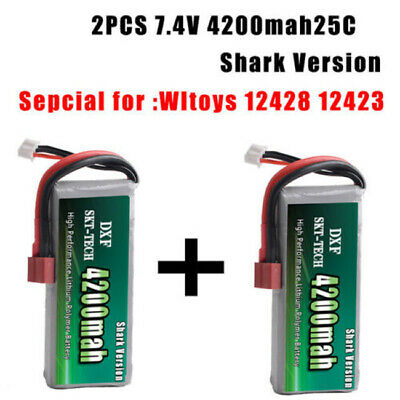 2PCS 7.4V 2s 4200mah 20C Max 40C Lipo battery For wltoys 12428 12423 car parts