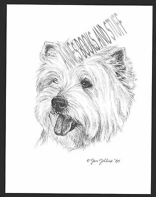 WEST HIGHLAND WHITE Terrier Print Westie Cottage Chic