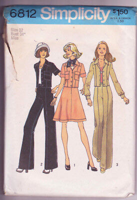 6812 SIMPLICITY c.1974 - Short JACKET SKIRT PANTS - Sz 12 B 34""