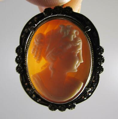 Antique Art Deco Period Sterling Silver Marcasite  Carved Cameo Brooch Pendant