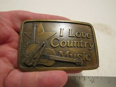 Vintage Indiana Metal Craft I Love Country Music Brass Belt Buckle