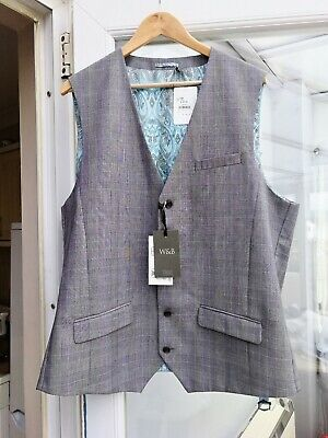 Men's Williams And Brown Grey Check Waistcoat Chest 44 NWT