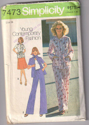 7473 SIMPLICITY c.1976 - SHIRT-JACKET PANTS SKIRT - Sz 16 B 38""
