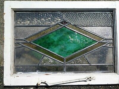 Art Deco Stained Glass Leaded Window. Green/Opaque. Geometric Design