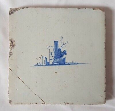 Delft Landscape Design Tile Probably 18Th Century 12.5 Cm