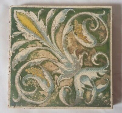 Charming Unusual Minton Hand Painted Regal Shabby-Chic  Victorian Tile
