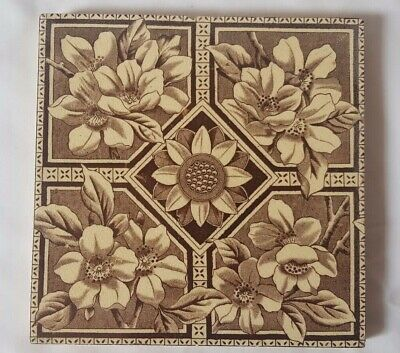 Charming 6 Inch Symmetrical Sunflower Floral Design 6 Inch 19Th Century Tile