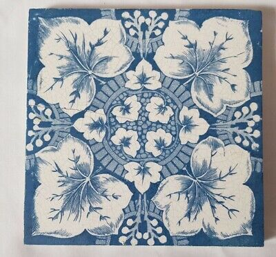 Stunning Blue & White Floral Symmetrical Design  6 Inch 19Th Century Tile