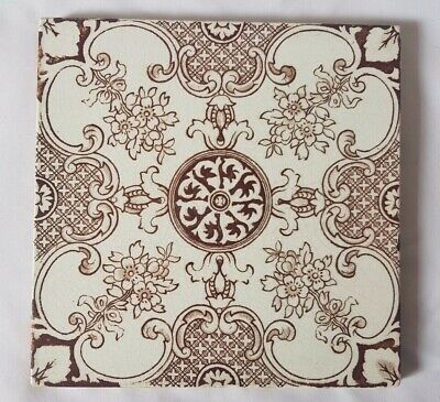 Elegant Floral Symmetrical Design   6 Inch 19Th Century Tile