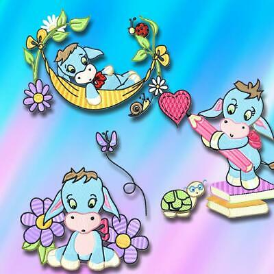 SWEET DONKEY  10 MACHINE EMBROIDERY DESIGNS CD or USB