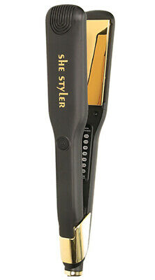 She Wide Hair Straighteners Gold professional styler with Variable temperature